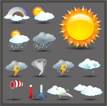 Weather Icon Set | Shiny Series / Dark