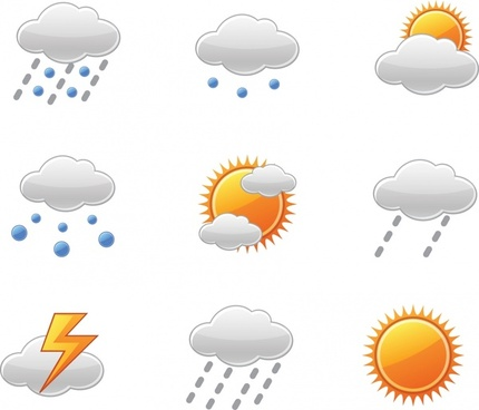 weather forecast design elements bright modern symbols sketch