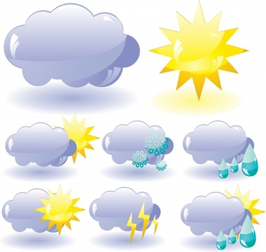 weather design elements clouds sun icons modern design