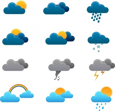 weather design elements cloud sun rainbow thunderbolt icons