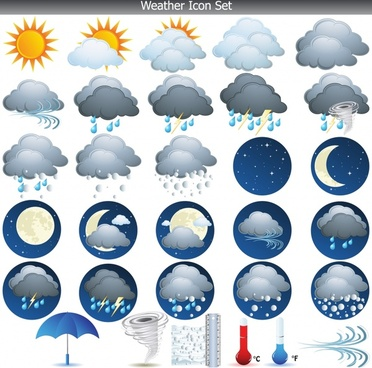 weather forecast icons sets cloud sun moon thermometer sketch
