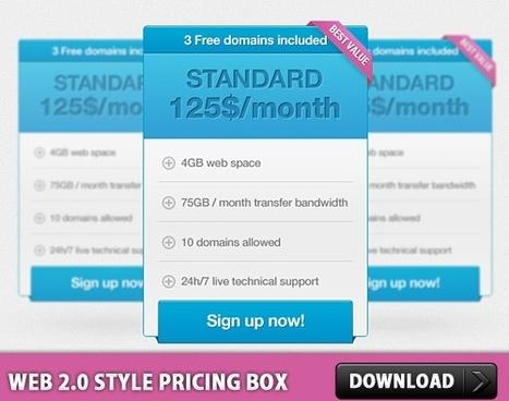 Web 2.0 style pricing box PSD