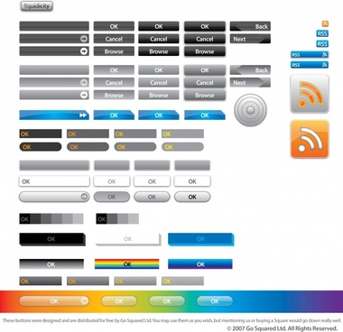 web buttons templates simple flat geometric design