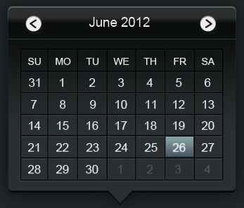 web calendar psd layered
