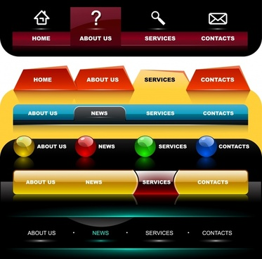 webpage menu templates modern colored shiny decor