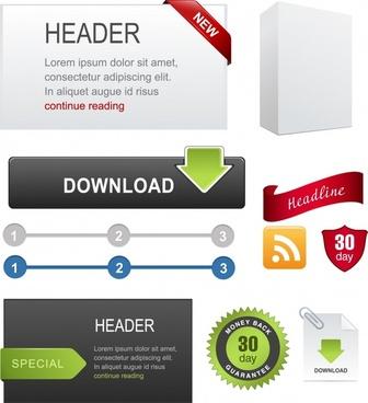 webpage design elements modern colored flat 3d design