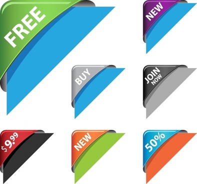 sales banner corner templates colorful modern 3d layers