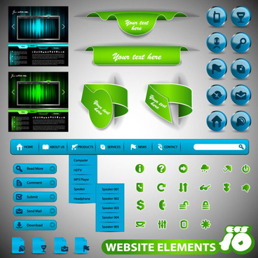 web design elements collection vector