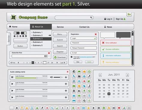 webpage design elements elegant modern flat design