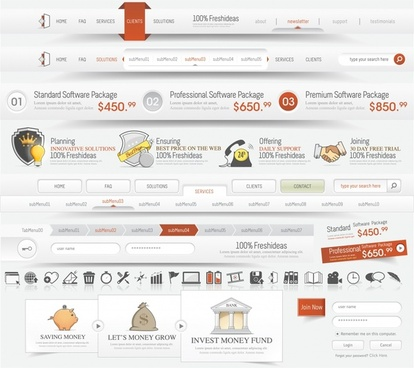 web design elements bright elegant modern