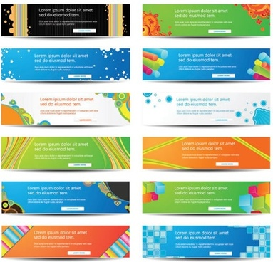 web banners templates colorful horizontal design
