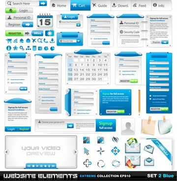 web design elements elegant bright blue white decor