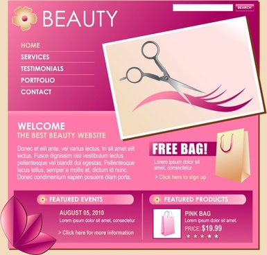 beauty webpage template modern layout design pink decor
