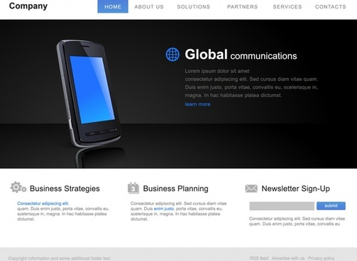 webpage template dark modern design smartphone icon decor