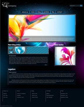 webpage template dark colorful modern abstract decor