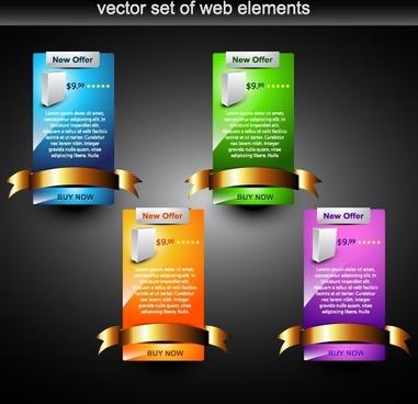 website design elements modern tabs sketch ribbon decor