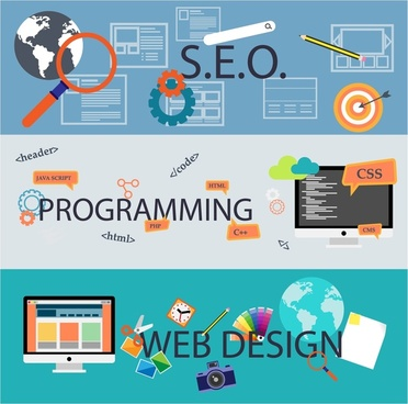 web development concepts illustration in horizontal color banners