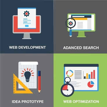 web development elements concepts design in flat style