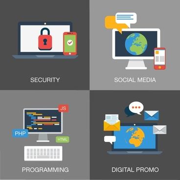 web development elements isolated with various application