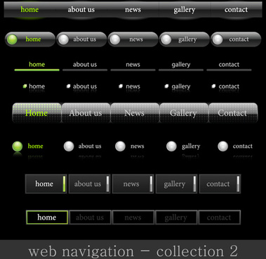 web elements of button and menu vector