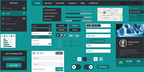 web flat design ui kit free download