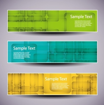 web header abstract banner vector set