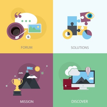 web icons isolated with various colored styles