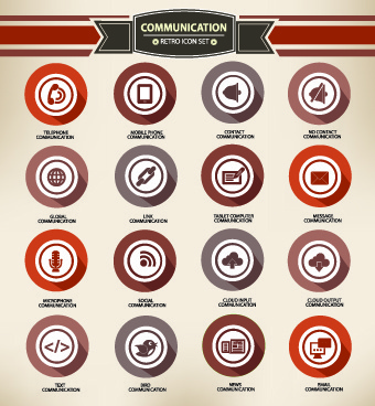 web icons round vector set