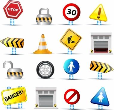 web icons traffic signs