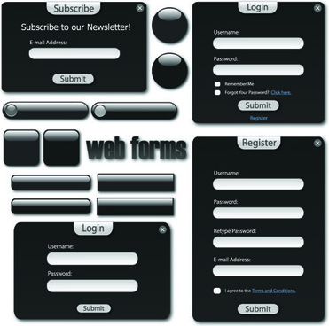 web login window elements vector