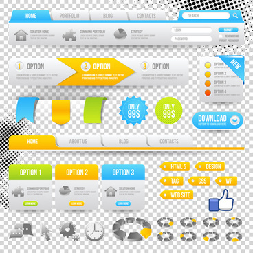 web navigation with button elements vector illustration