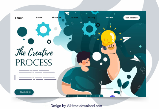 web site template creative conceptual theme cartoon design