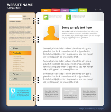 web sites design template and button vector graphic
