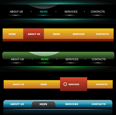 web sites menu vectors set