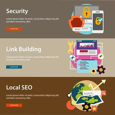 webpage banner sets illustration with information technology solutions