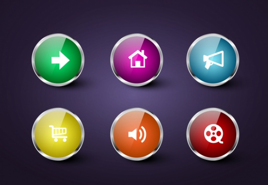 webpage button icons shiny multicolors circles