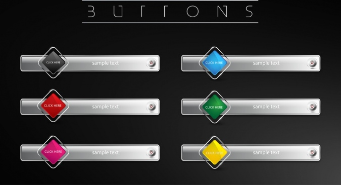 webpage buttons collection shiny grey horizontal geometric styles