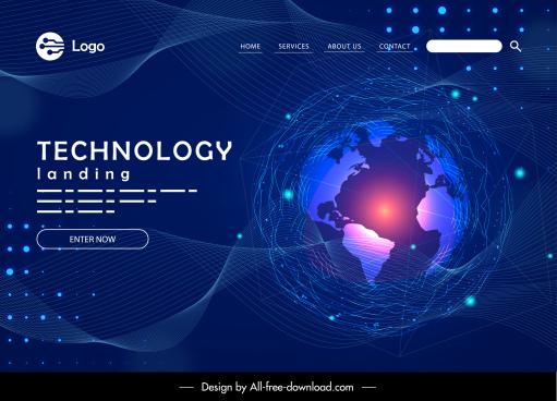 webpage template dark technology theme globe sketch