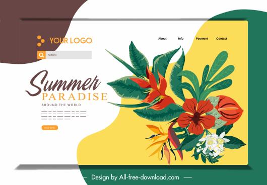 webpage template floral decor classical design