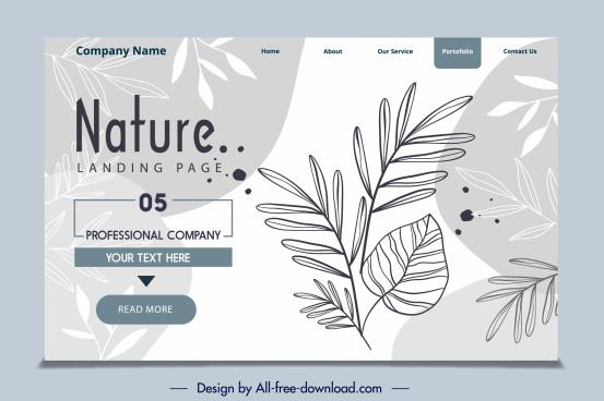 webpage template handdrawn leaf decor