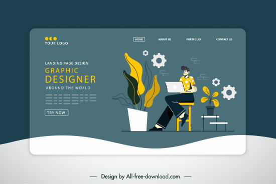 webpage template office elements sketch dark classic