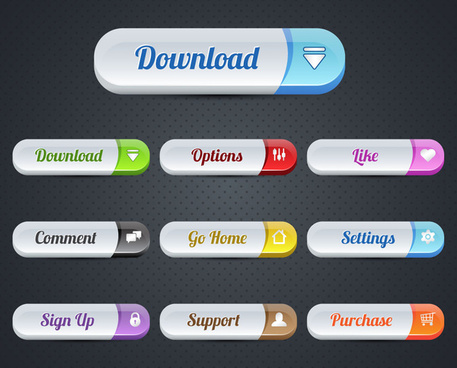 webpage ui buttons design with rounded rectangular shapes