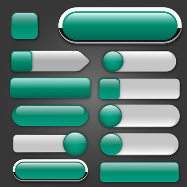 webpage various buttons sets on green classical style