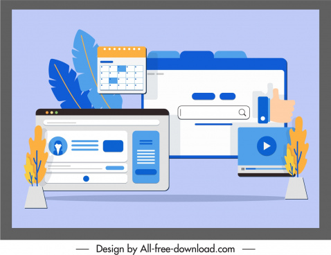 website application templates colored flat sketch