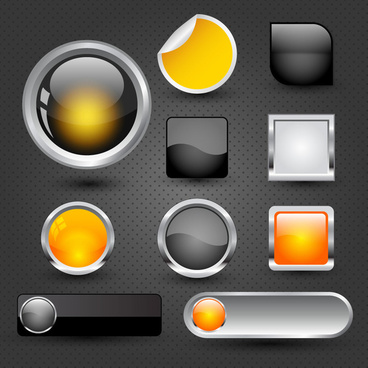 website buttons icons design with shiny colored shapes