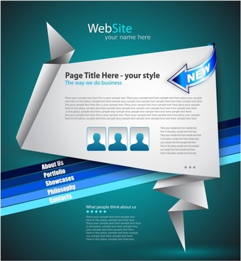 web site homepage template modern origami 3d decor