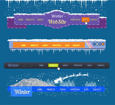 website interfaces with winter background design