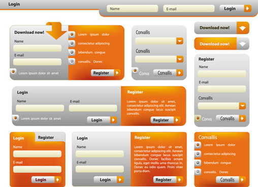 website login boxes design vector