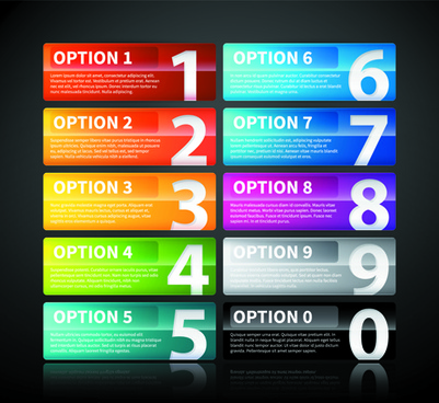 website numbered buttons vector