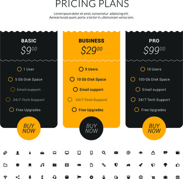 website pricing plans banners vector
